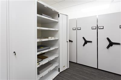 Archival collection stored on framed doors