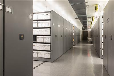 Archival storage at a teaching museum in Maryland