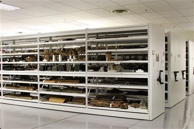 Artifact storage on compact mobile shelving at Yale University