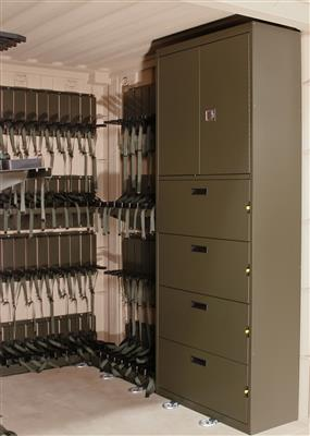 Universal Expeditionary Weapons Storage System (UWESS) with cabinet