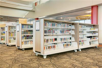 Library book shelving on casters makes it easy to move