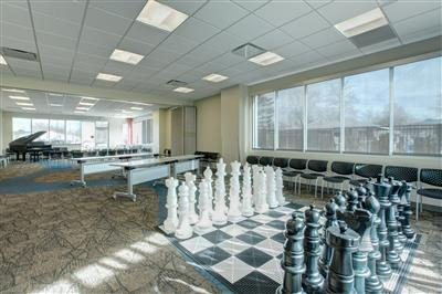 Life size chess at public library