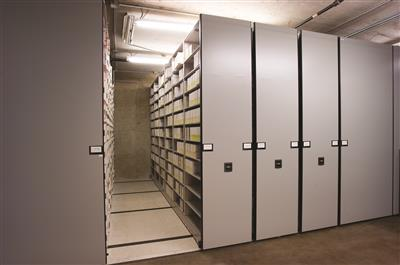 Evidence kits stored on mobile shelving