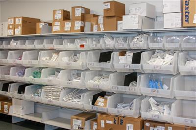 FrameWRX modular bin shelving holding medical supplies at Omaha Children