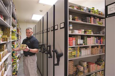 Ammunition storage on mobile shelving and static shelving