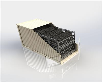 Two Wheel Racks are stored stacked inside a 20 foot container