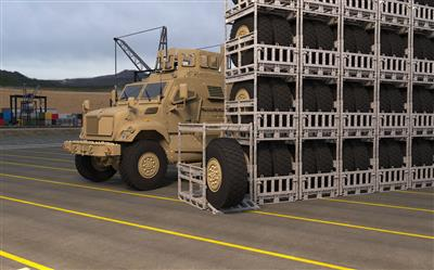 Wheel Rack HD stacked for vehicle maintenance operations