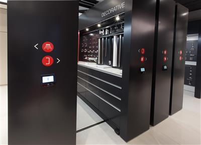 Showroom display stores more in less with mobile shelving.jpg