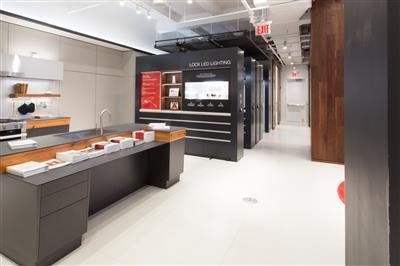 Hafele America Co showroom display is innovative with mobile shelving.jpg