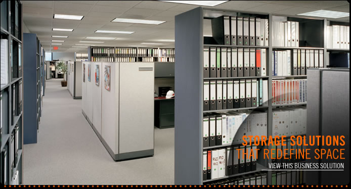 Learn more about our mobile shelving in the office, business storage, law firm shelving and office storage solutions