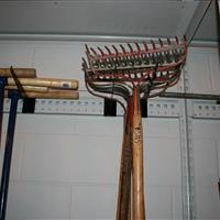 Garden Tools Stored on EZ Rail