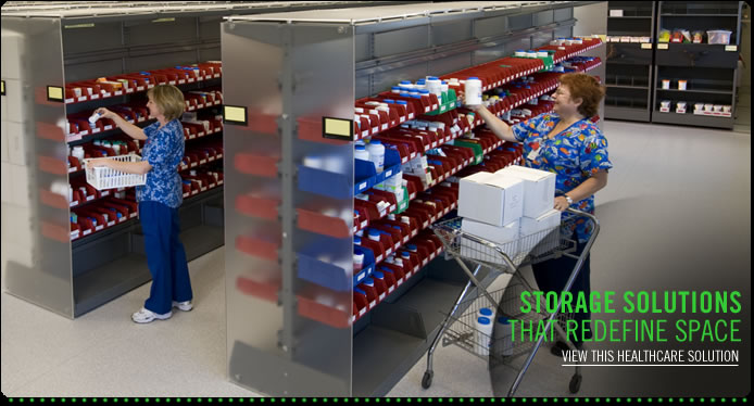 Learn more about our health care mobile shelving solutions, pharmacy storage and bind shelving