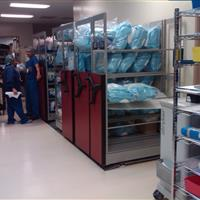 Sterile Storage on Wire Shelving on Rolling Shelves at Medical Center