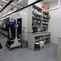 Athletic Equipment Room Cart and Shelves