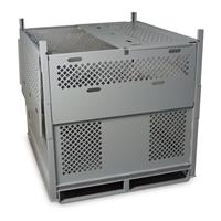 Parachute Storage with perforated panels for durability, visibility and ventilation